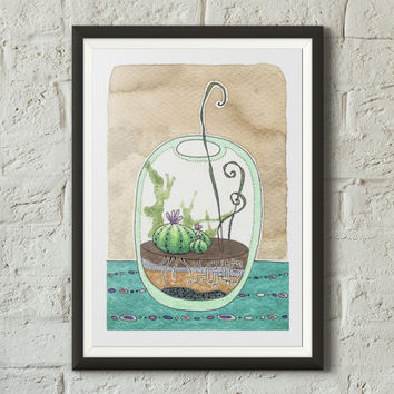 Cute terrarium fine art print illustration, Cactus print, Botanical art, Bowl, Coffee stains, Succulents, Watercolor, Sharpie, Vivid colors