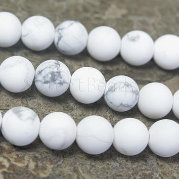 matte howlite white beads - white stone beads - white gemstone bead -  grey and white beads - semi precious stones - 4-14mm beads - 15 inch