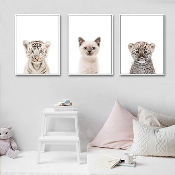Baby Animal Cat Tiger Panda Wall Art Canvas Painting Nursery Nordic Posters and Prints Decorative Picture Kids Room Decor