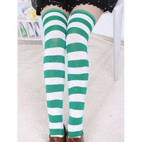 Green And White Stripe Print Over the Knee Socks
