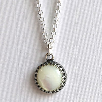 Mother of Pearl Necklace, Long Thin Silver Chain, Ivory Single Pearl Pendant Drop