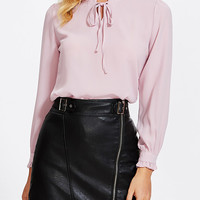 Pink Tie Front Long Sleeve Blouse - Choies.com
