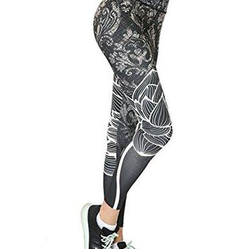 NonEcho Women Yoga Pants High Waist Fitness Leggings Workout Running Tights Stretchy Capris Activewear