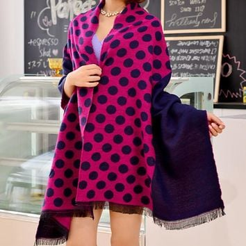 Polka Dots Cashmere Winter Warm Scarf Cape Wrap Shawl