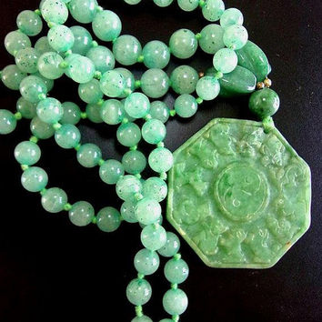 Carved Green Jade Pendant Medallion Necklace, Aventurine Beads, Hand Knotted, Vintage