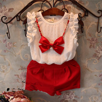 Girls White & Red Suit