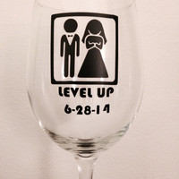 Level up wine glass. Wedding wine glass. Bride wine glass