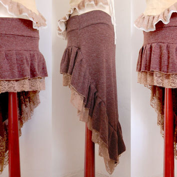 Simple fish tail wool mix skirt. under or over layer skirt. pixie, festival, psy, fairy, woods gypsy piece.
