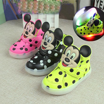 new cute cartoon flash baby kid sneaker mickey style mouse dot waterproof shoes for 1-6yrs children boy-girls outdoor shoes hot