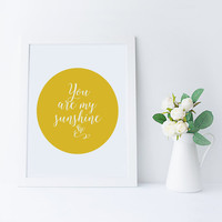 PRINTABLE Art, You Are My Sunshine,Heart Print,Double Heart,Gift For Boyfriend,Gift For Girlfriend,Lovely Words,Valentines,Wedding,Typo