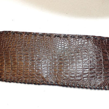Hand made leather wallet, Mens leather wallet, brown leather wallet, embossed crocodile pattern