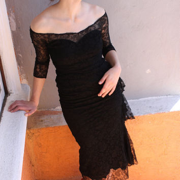 1940s Black Lace Cocktail Dress by FoxJonesVintage on Etsy