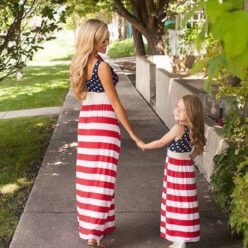 July 4th Mother And Daughter Dress Family Clothing American Flag Striped Dress Summer Mom And Me Dress Family Outfits Clothes