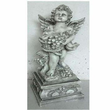 "28.75"" Cherub Angel Standing on Pedestal Holding a Fruit Basket Outdoor Garden Statue"