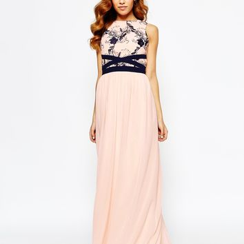 Little Mistress Maxi Dress With Lace Bodice at asos.com