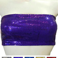 Sequin Bandeau Top In Purple - Bliss Salon and Boutique