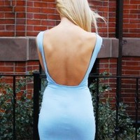 Blue Crush Dress – Light Blue Open Back Dress