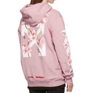 WHITET RONDLIFE New Fashion Sakura arrow English alphabet hooded sleeve casual sweater top t-shirt Pink
