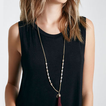 Beaded Tassel Fringe Pendant Necklace | Wet Seal