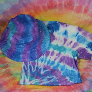Tie Dye Bucket Hat and T Shirt - Ocean/Purple!