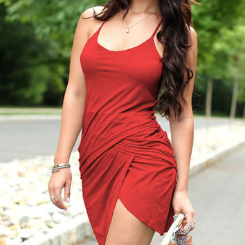 Red Ruched Asymmetrical Dress