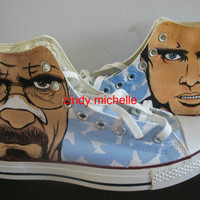 Custom Converse Breaking Bad  Walter White and Pinkman  Hand Painted On Converse Shoes Great Gift
