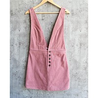 Final Sale - HONEY BELLE - overall corduroy dress - pink