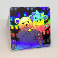 Holographic Teddy Bear Pair Vintage Collectible Sticker
