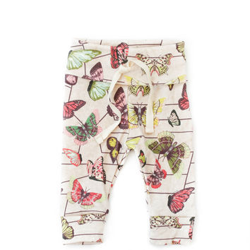 Organic Drawstring Leggings in Butterflies in Cherry