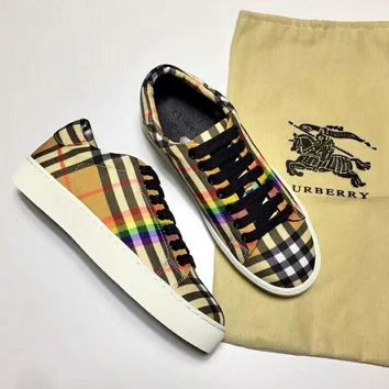 Burberry Rainbow Series Stylish Trending Women Men Personality Flat Sport Shoes Sneakers I-CSXY