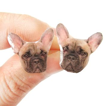Realistic French Bulldog Head Animal Shaped Resin Stud Earrings | Made To Order | Handmade