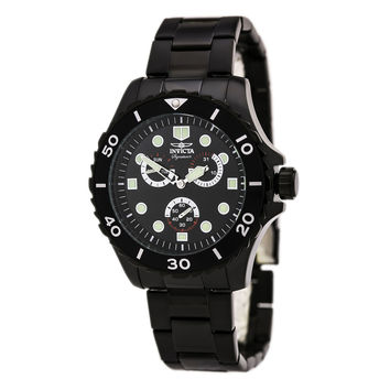 Invicta 7052 Men's Signature II Black Dial Black IP Steel Bracelet Watch