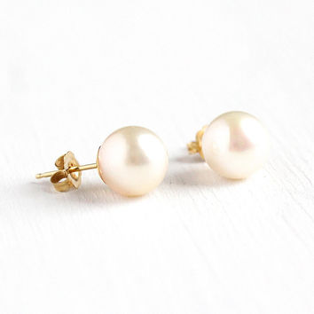 Cultured Pearl Earrings - Vintage Retro 1960s Era 14k Solid Rosy Yellow Gold Pierced Post - Round Modern Classic Pushback Fine Studs Jewelry