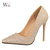 2016 New Fashion Sexy Women Silver Rhinestone Wedding Shoes Platform Pumps Red Bottom High Heels Crystal Shoes