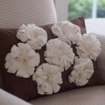 Fabric Flowers Pillow Cover Shabby Chic Decor Beaded Flowers Lucky 7 12 x 16
