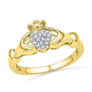 10kt Yellow Gold Womens Round Diamond Claddagh Hands Heart Cluster Ring 1/20 Ctw