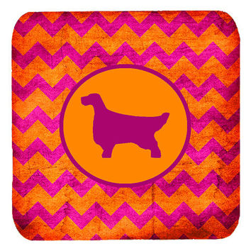 Set of 4 English Setter Chevron Pink and Orange Foam Coasters