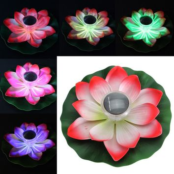 Solar Power LED Floating Lotus Flower Light