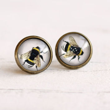 Bee Earrings  Bumble Bee Honey Bee Buzz Hive by SilkPurseSowsEar