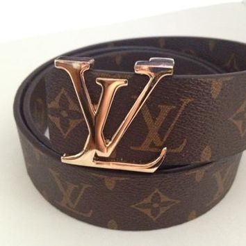 LV classic canvas men and women smooth buckle belt