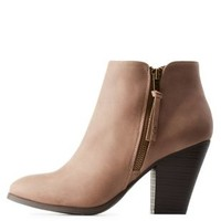Taupe Side-Zip Chunky Heel Booties by Charlotte Russe
