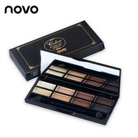 Novo Brand Makeup Matte + Glitter Eyeshadow Palette 2 Styles Make Up Charming Smoky Eyes Eye Shadow Palette with Brush Cosmetic.