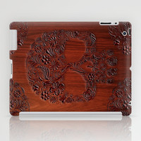 Wood Carved Sugar Skull flower pattern apple iPad 2, 3 and iPad mini Case