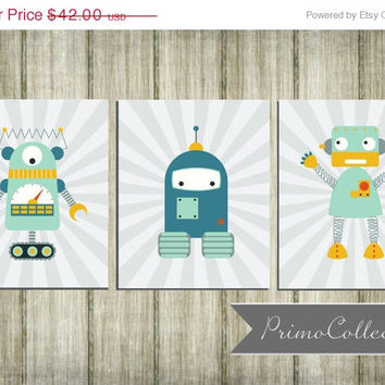 Robot Nursery Wall Art Prints / set of 3 / 8x10 inch / teal gray / baby boy / boy's room decor / wall art