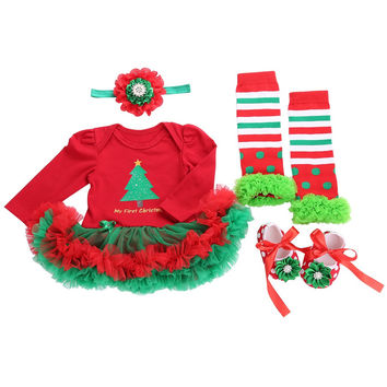 Newborn Baby Girl Clothes Baby Sets Tutu Christmas Dress Bodysuit Shoes Headband Set Roupa Infantil Baby Clothing Xmas Costumes