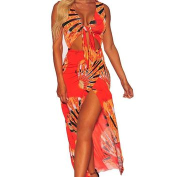 Egyptian Impression Print Tie Front High Split Maxi Dress