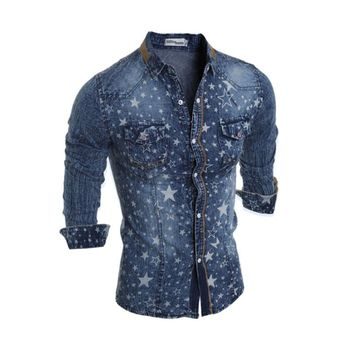 2017 new cowboy men's shirt long-sleeved men's denim shirt men's new fashion brand denim shirt star pattern plus size