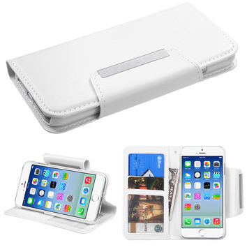 Book-Style Premium Leather Stand Wallet Case for iPhone 6 - White