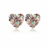 Gold tone clustered gem heart stud earrings - earrings - jewelry - women