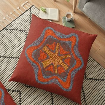 'Growing - Clematis - embroidery of plant cells' Floor Pillow by VrijFormaat